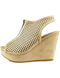Francesco Milano Zapatos Elegantes Mujer Beige Cuero AG514 (35 EU)