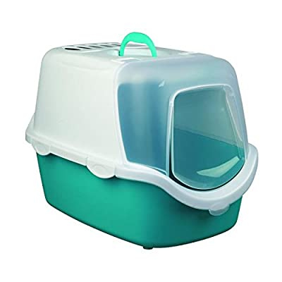 Trixie Vico Easy Clean Cat Litter Tray with Dome, 40 x 40 x 56 cm, Turquoise/White by Trixie