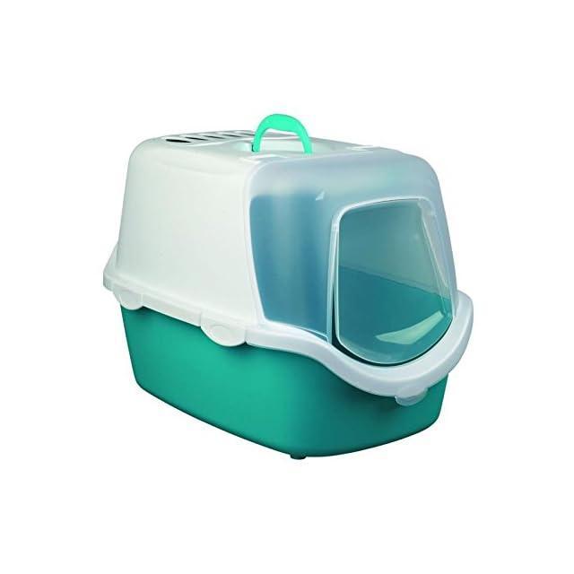 Trixie Vico Easy Clean Bac à Litière pour Chat Aigue-Marine/Blanc 40 × 40 × 56 cm