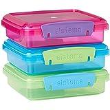 Sistema 41647, Lunch Sandwich Box con Clip a Contrasto, 450ml, Colori assortiti, Pacco da 3