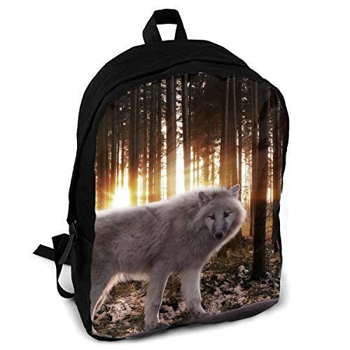 Coole Wolf-Mode-Druck-Erwachsene Rucksack-Reise, die Rucksack wandert