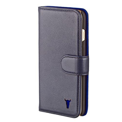iPhone 6S Plus Ledertasche, Hülle, echtleder Brieftasche mit Bargeld / Visitenkartenslot, Braun von TORRO Blau