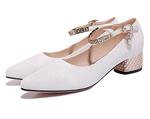 Damen Pumps Spitz Zehen Strass Knöchelriemen Perlen Schnalle Elegant Klobige Heels Schuhe Weiß