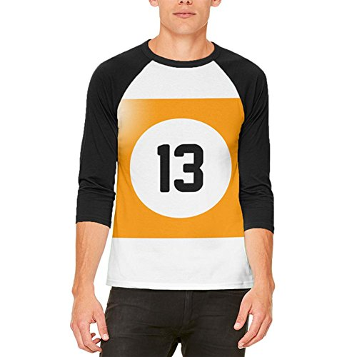 Billard Pool Ball dreizehn Halloweenkostüm aller Herren Raglan T Shirt White