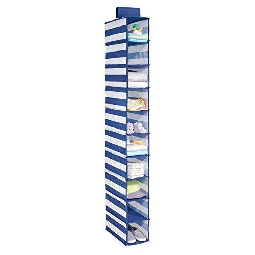 mDesign Estantería de tela colgante con 10 baldas – Organizador de ropa, juguetes o mantas – A rayas, ideal para organizar armarios y ahorrar espacio en la habitación infantil –azul marino/blanco
