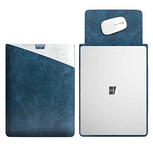 WALNEW 13.5 Microsoft Surface Laptop 2017 13.5 Zoll Schutzhülle, Hülle, Case, Cover, mit Zwei-Taschen-Design mit Geschütztem Inneren und Externem Mousepad