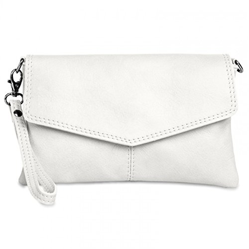 CASPAR TA322 Womens Napa Leather Evening Clutch, Colour:white