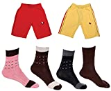Indistar Boys Combo Pack (Pack of 2 Boys Cotton Bermuda/Shorts and 4 Cotton Shocks)-Multi Color-2-3 Years