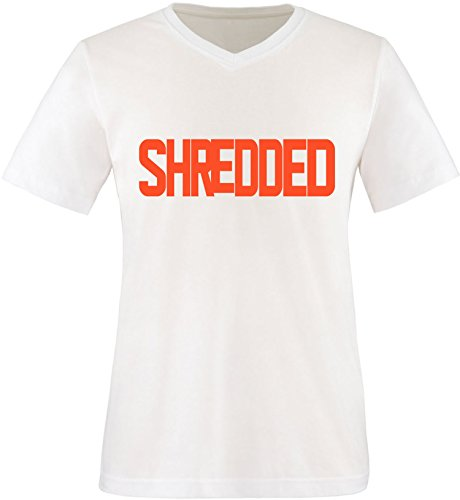 EZYshirt® Shredded Herren V-Neck T-Shirt Weiss/Orange