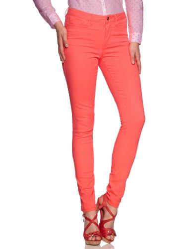 VERO MODA Damen Hose 10093296 WONDER NW NEON JEGGING Skinny Slim Fit (Röhre) Normaler Bund Rot (FIERY CORAL)