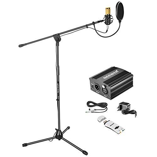 Neewer Kit di Microfono a Condensatore:Microfono Dorato,Stand di Microfono da Terra con Asta/Alimentazione 48V Phantom/Supporto Anti-vibrazione/Filtro Pop/Scheda Audio USB