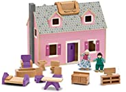 Melissa & Doug Fold & Go Mini Dollhouse (Portable Wooden Dollhouse, Working Doors, Sturdy Carrying Han