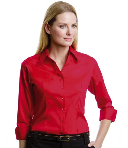 Kustom Kit Femme Corporate Oxford à manches 3/4 pour Homme red
