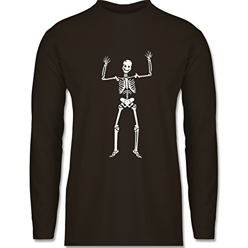 Halloween - Skelett Skeleton - Longsleeve / langärmeliges T-Shirt für Herren Braun