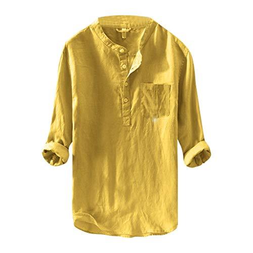 BHYDRY Herren Mode aus Reiner Baumwolle und Hanf Langarm Top Casual Bluse Top(XX-Large,Gelb) - Spitze Hanf