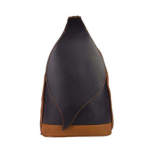 OBC Made in Italy Damen echt Leder Rucksack Lederrucksack Tasche Schultertasche Ledertasche Nappaleder Handtasche (Schwarz-Cognac)