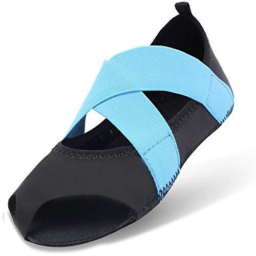 JOINFREE Zapatillas Antideslizantes Pilates Yoga Socks Dance Fitness Calcetines para Mujeres Azul EU 39-40
