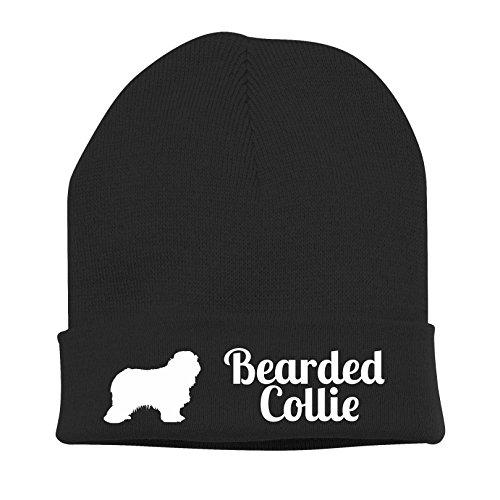 Strickmütze - BEARDED COLLIE Beardie Hütehund Highland Collie - Stickerei Hund Winter Mütze Wintermütze Beanie Mütze Siviwonder schwarz-weiß