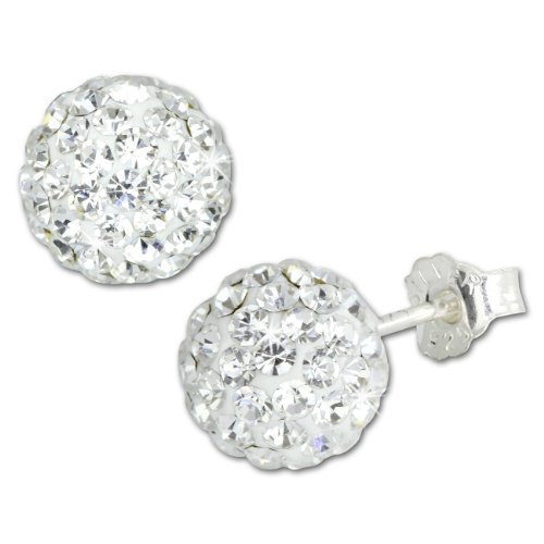 SilberDream Ohrstecker Glitzerkugel 8mm weiß Preciosa Zirkonias Sterling Silber 925 Ohrring GSO2808W