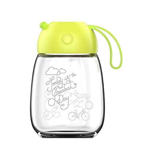 400ml Glasbecher portable Damenbecher schönen großen Bauch Glas kreative Siegel Tasse , green pepper , 301-400ML