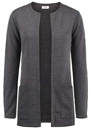 ONLY SWEA Damen Langer Cardigan Jacke Longjacke Mit Offenem V-Ausschnitt, Größe:M, Farbe:Dark Grey Melange