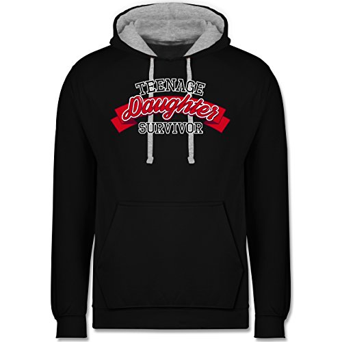 Muttertag - Teenage Daughter Survivor - Kontrast Hoodie Schwarz/Grau Meliert