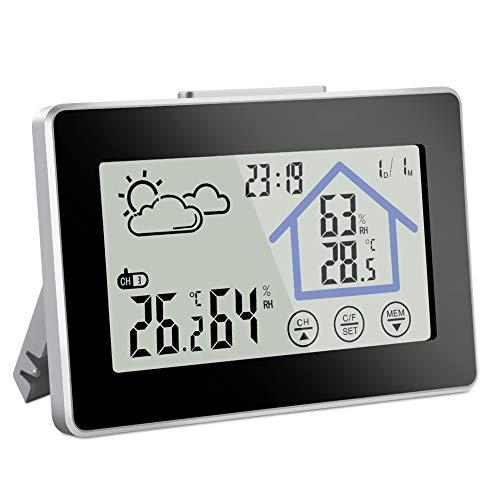 Vegena Wetterstation Funk mit Außensensor, Digitale Thermometer Innen und Ausen Außenthermometer Außentemperatur Hygrometer Funkwetterstation mit Wettervorhersage Uhrzeit Touchscreen Nachtlicht