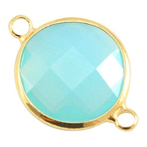 Sadingo Schmuckverbinder Kristallglas facettiert- Rund - Schmuckstein Opal - 1 Stück - 16 mm - Farbe wählbar, Farbe:Aqua Blau