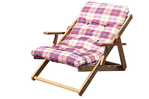 Alessia Chaise relax en bois de pin naturel avec assise rembourrée – inclinable en 3 positions