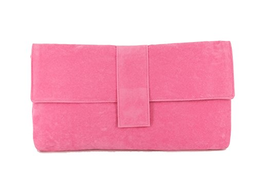 Fab großen Faux Wildleder Clutch Bag/Schultertasche In Nude Beige rose pink
