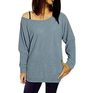 oferta tarima flotante: Luckycat Camiseta Blusa de Manga Larga con Cuello Redondo para Mujer Blusas de F...