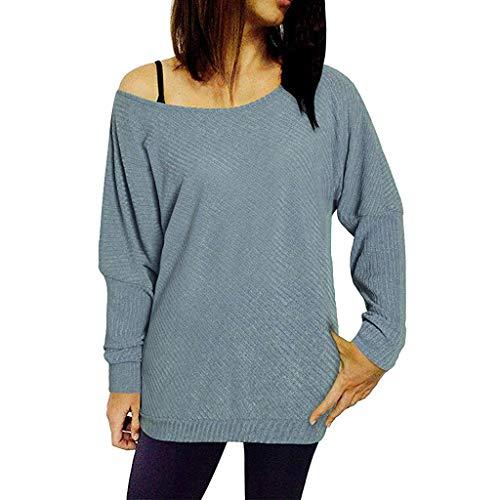 AMUSTER Damen Pulli Langarm T-Shirt Lose Bluse Hemd Pullover Oversize Sweatshirt Oberteil Tops Schulterfreies Sweatshirt Langarm Pullover