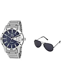 Watch Me Gift Combo Set Of Sunglasses And Day Date Series Blue Analog Stainless Steel Quartz Watch For Men And...