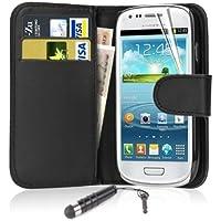 Samsung Galaxy Ace3 / S7272 Premium High Quality Pu Leather Flip Case Cover Plus Stylus Pen, Screen Protector & Screen Polishing Cloth (BLACK BOOK + MINI STYLUS)