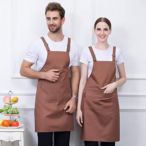 Dtcat Grembiule da Cucina per Uomo e Donna,Grembiule da Collo in Cotone Poliestere,Negozio di pentole/Barbecue/Cucina/Tuta da Cuoco @ Khaki,Grembiule Regolabile Unisex