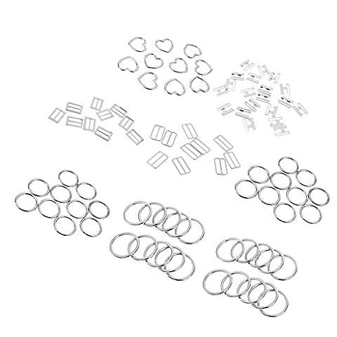 MagiDeal 8X10Pcs Anneaux de Fabrication Argent en Alliage de zinc Solid Accessoire DIY
