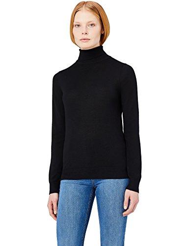 MERAKI Jersey de Merino Mujer Cuello Alto, Negro (Black), 46 (Talla del Fabricante: XX-Large)