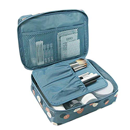 BlushBees Waterproof Fabric Travel Cosmetic Toiletry Blue Bag Kit  21x18x8cm