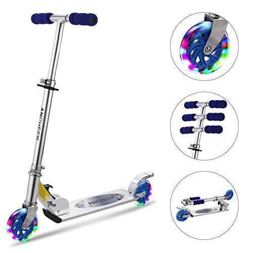 Hikole Scooter Kinder Roller Kickscooter Faltbar Kickroller Tretroller für Kinder Jungen Mädchen ab 3-12 Jahre bis 200Lbs Mit Verstellbare Höhe und Blinkenden Rädern (Typ1 Blau)