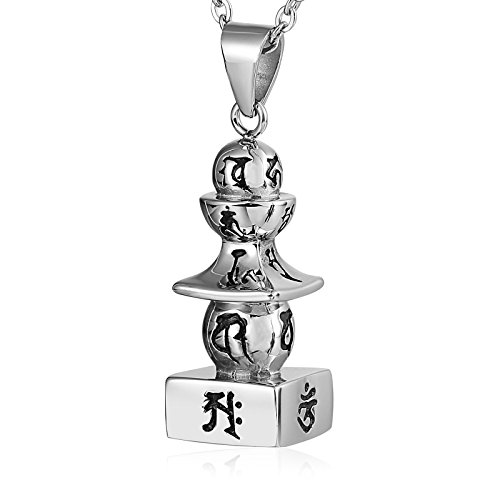 Epinki Collier Cendres Acier Inoxydable Mantra Tour Argent Memorial Cendres Urne Collier