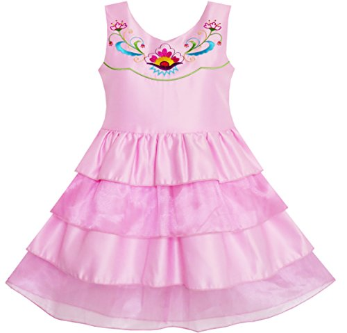 JH56 Sunny Fashion - Vestito floreale, bambina, rosa 10 anni