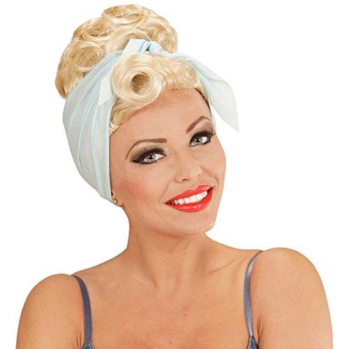 NET TOYS Damen Rockabilly Perücke Pin Up Girl Damenperücke blond 50er 60er Jahre Frauenperücke 50s 60s Faschingsperücke Fastnacht Rockabella Karnevalsperücke Kostüm Kleidung ()