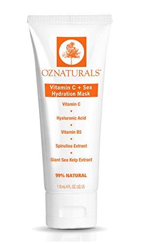 OZNaturals Vitamin-C-Gesichtsmaske - Feuchtigkeitsmaske für trockene Haut mit Hyaluronsäure, Vitamin B5 und Meeresextrakten erneuert die Haut-Standard -