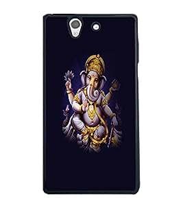 Fuson Premium Ganapathi Bappa Moriya Metal Printed with Hard Plastic Back Case Cover for Sony Xperia Z