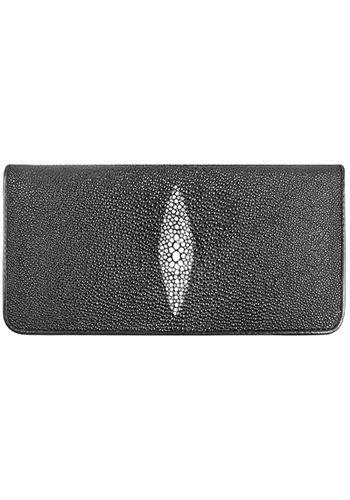 black-trifold-long-wallet-genuine-stingray-skin-leather