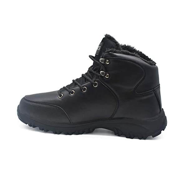 COFACE Mens Winter Snow Hiking Boots Leather Warm Faux Fur Lined Outdoor Walking Shoes 5
