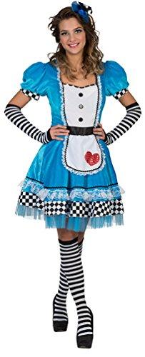 lice im Wunderland Kostüm Damen Alice-Kleid mit Herz Dienstmädchen Märchen-Kostüm Karneval Damen-Kostüm Größe 44/46 ()
