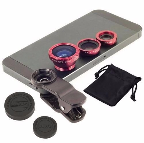 Crispytm Universal 3 In 1 Cell Phone Camera Lens Kit With Fish Eye Lens Wide Angle Lens And Macro Lens With Carry Pouch