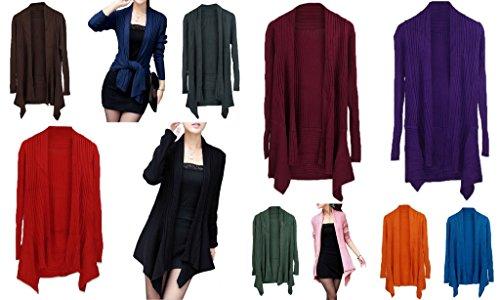 Smile YKK Femme Cardigan Tricot Manteau Cape Pull Blouson Uni Pour Printemps Automne Café