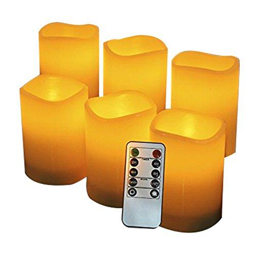 LED Kerzen,Flammenlose Kerzen 200 Stunden Dekorations-Kerzen-Säulen im 6er Set (3''*4''). Realistisch flackernde LED-Flammen aus Echtwachs in Elfenbeinfarbe. 10-Tasten Fernbedienung mit 24 Stunden Timer-Funktion (6*1, Ivory) (3' Led)